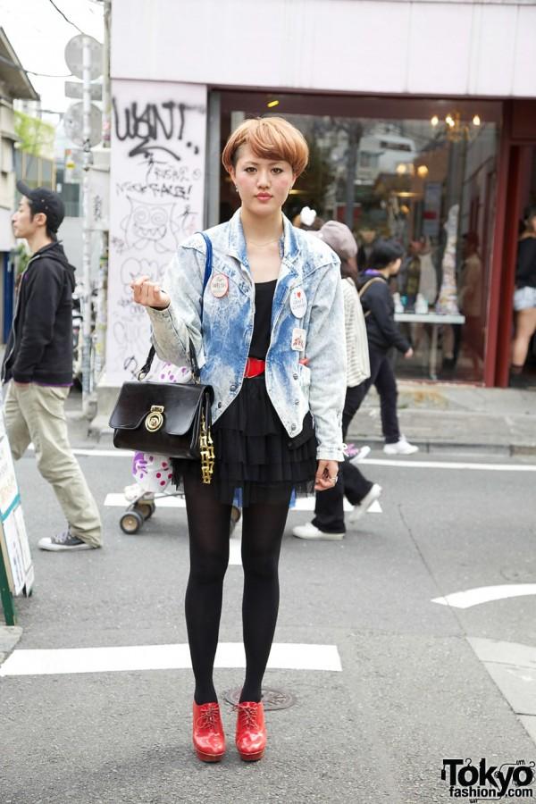 Acid Wash Jacket, Buttons & Vintage Handbag in Harajuku