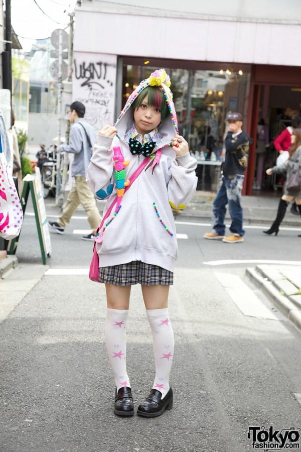 Harajuku Girl in Cute Handmade Hoodie & Bow Tie