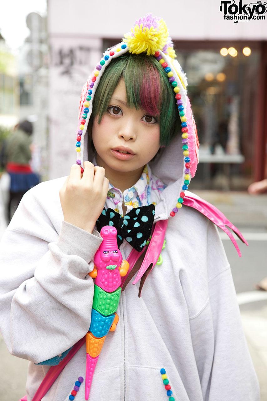 Harajuku Girl In Cute Handmade Hoodie Amp Bow Tie