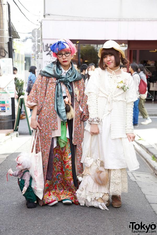 "Japanese Girls in Handmade Multi-Layered Fashion w/ ""Death"" Doll in Harajuku"
