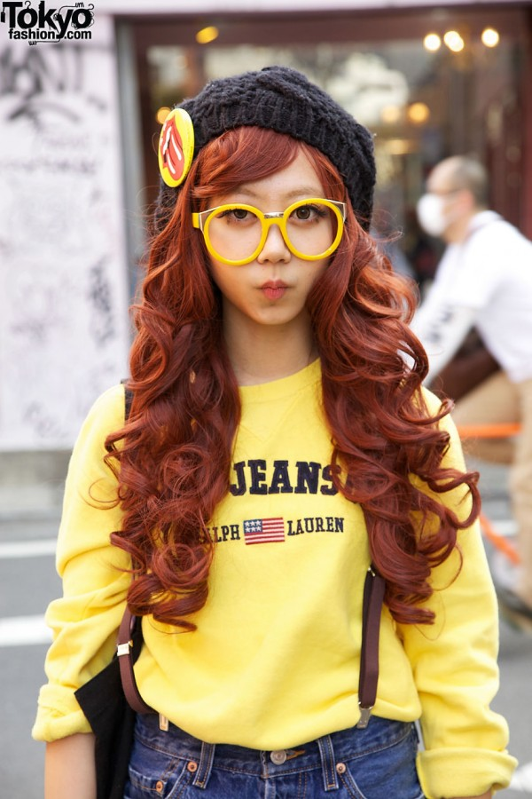 Long Red Hair & Glasses in Harajuku
