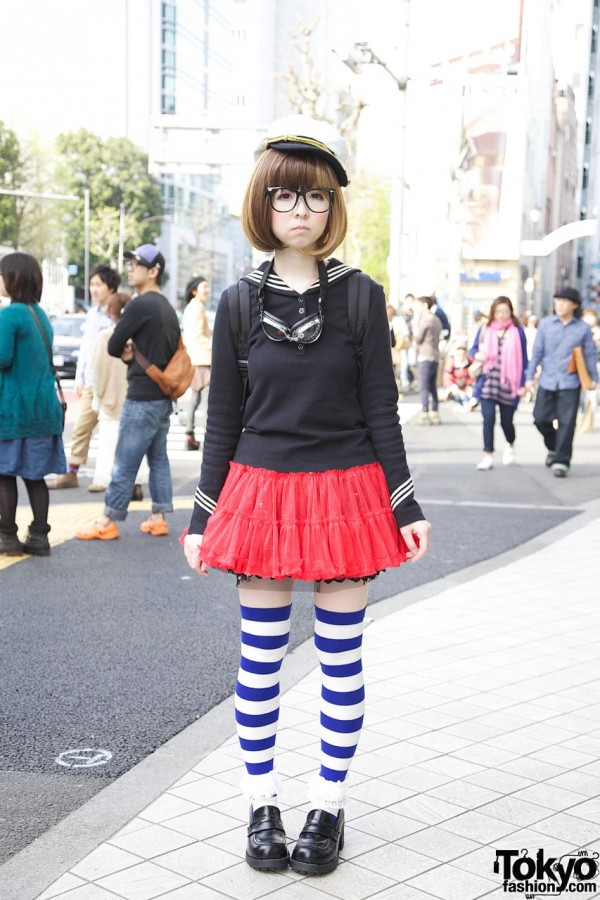 Too Cute Harajuku Girl in Glasses + Blonde Bob, Striped Socks