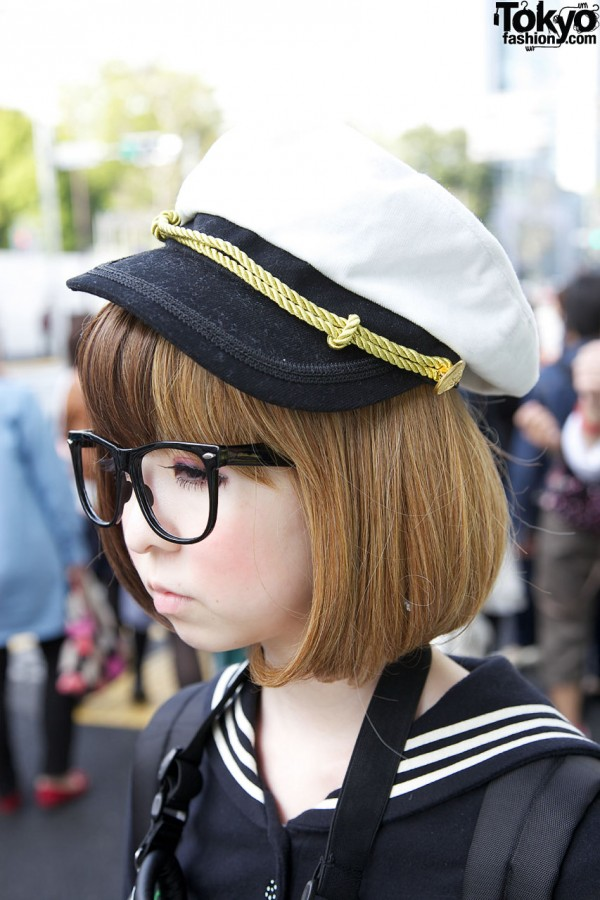 Japanese Girl in Navy Captain Hat