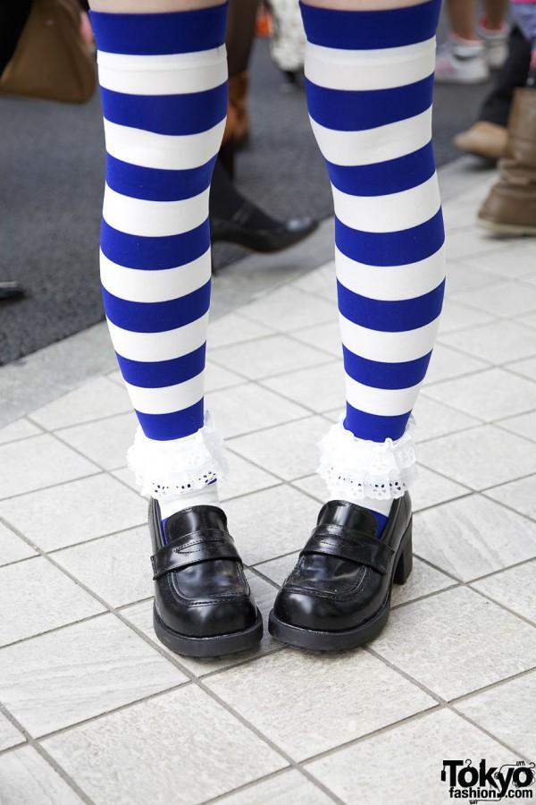 Blonde girls in striped socks