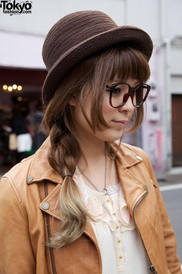 Japanese girl w/ long braid, glasses & derby hat