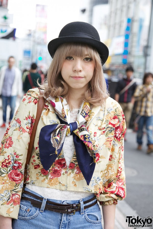 Derby hat, scarf & floral jacket in Harajuku