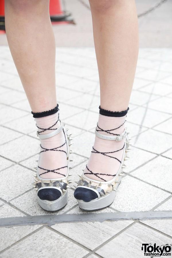 Spiked Glad News platform shoes w/ embroidered socks