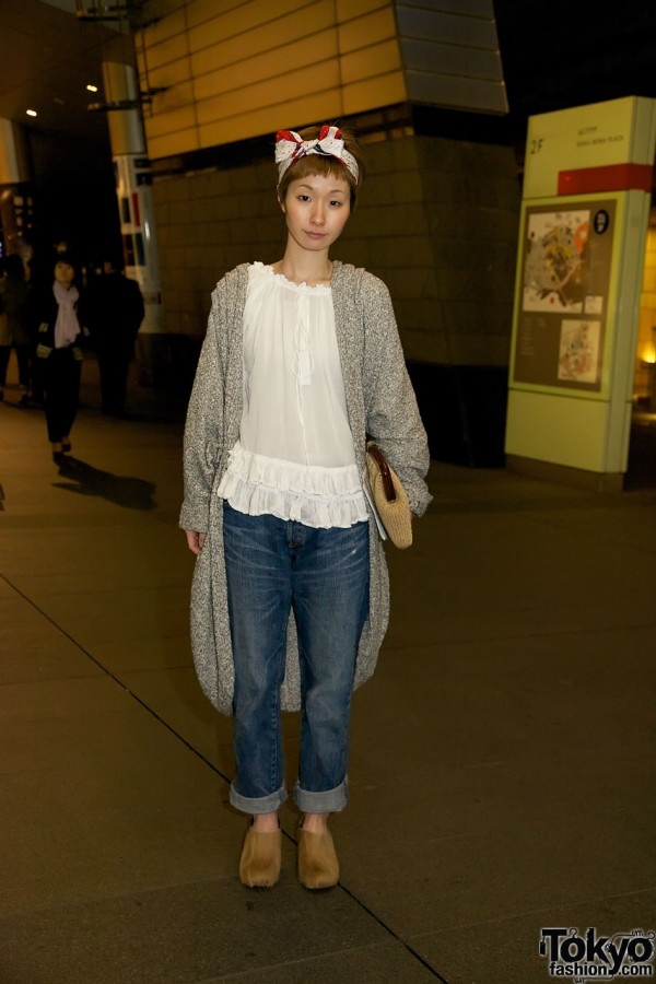 Girl in Cowhide Clogs, Jeans & Scarf Hair Bow in Tokyo