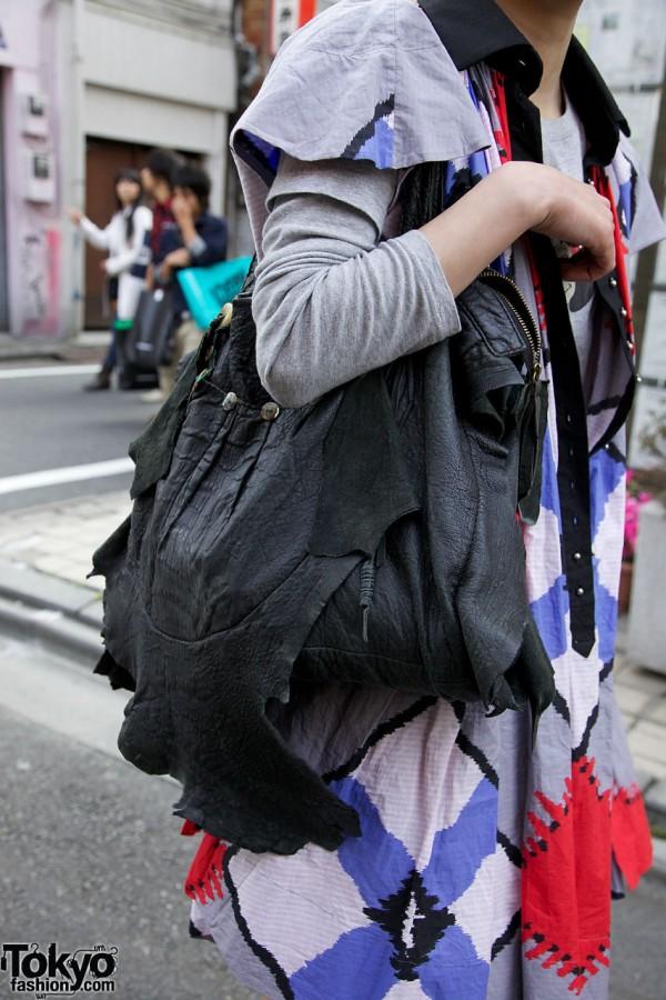 Raw Leather Handbag in Harajuku