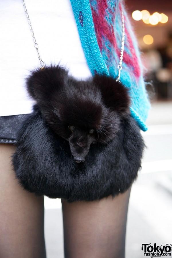 Vintage Fur Purse in Harajuku