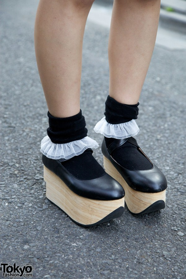 Body Line rocking horse shoes & chiffon-trimmed socks