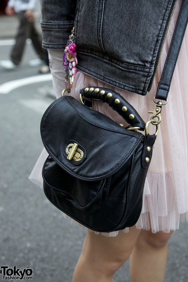 Black leather bag with gold studs