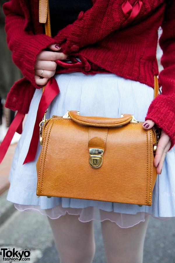 Tan leather cross-body bag