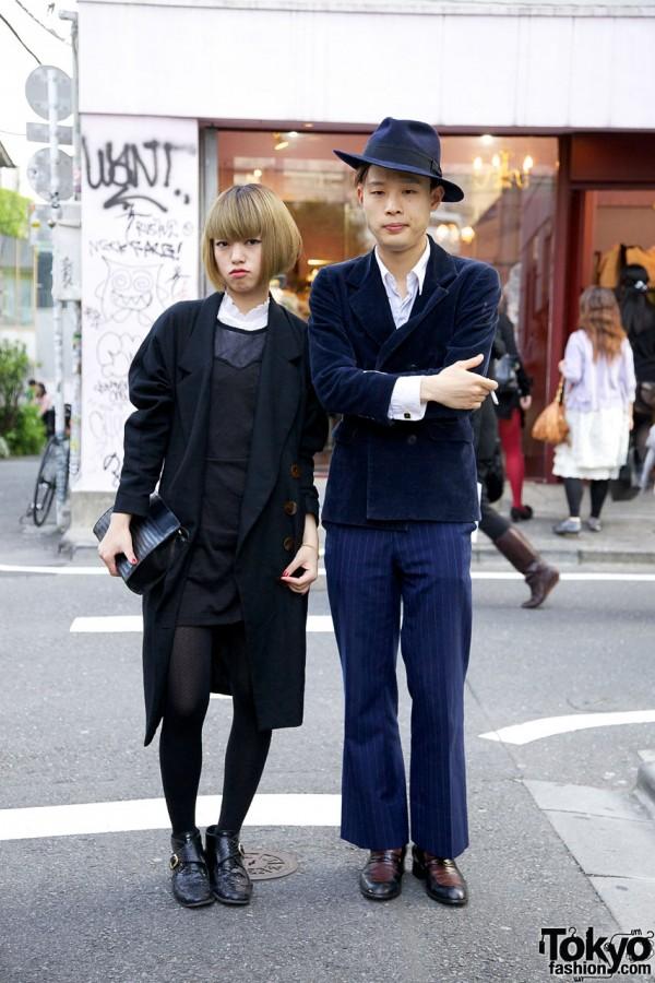 Vintage Street Style Japanese Couple in Harajuku