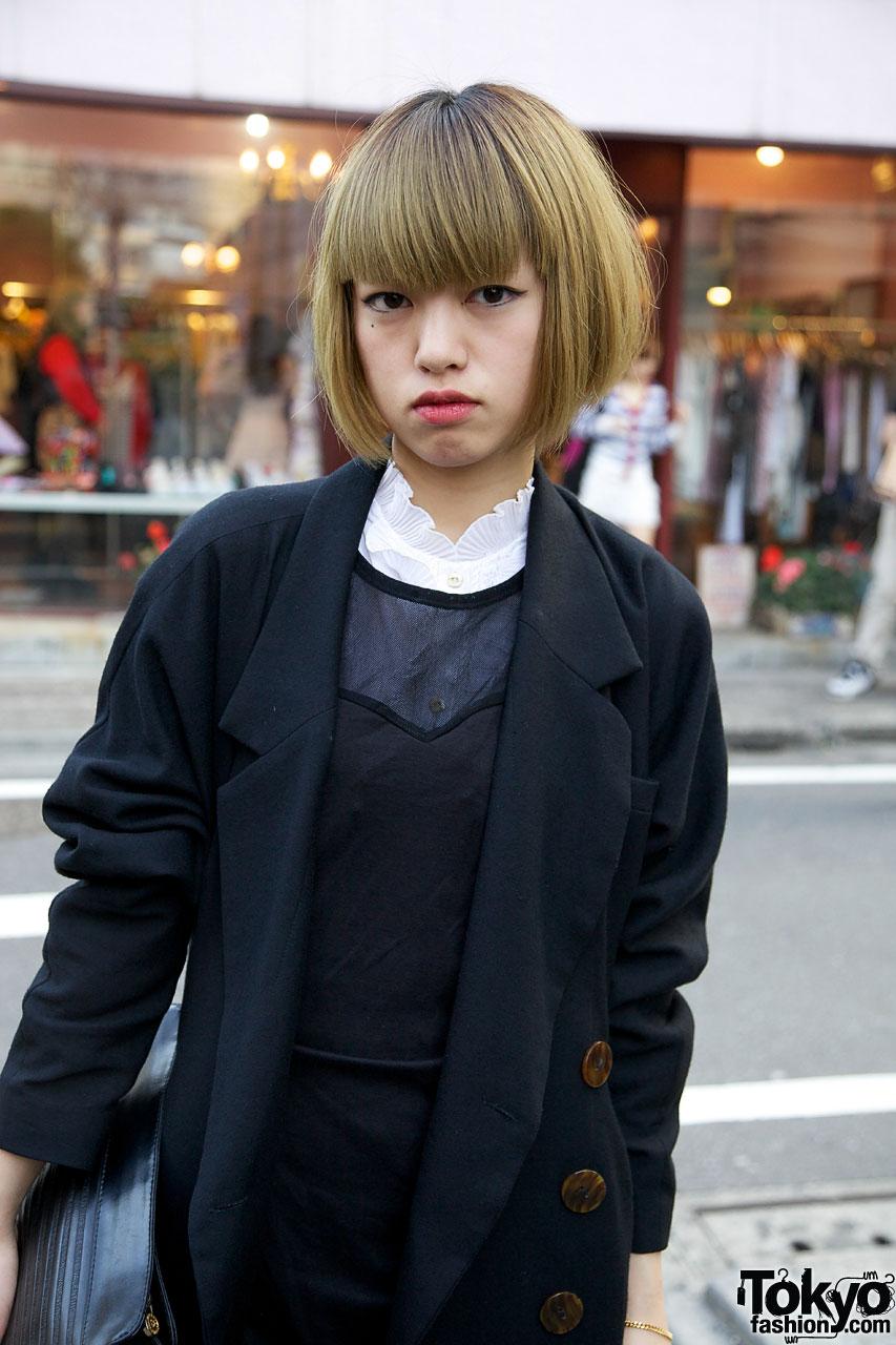 Astounding Vintage Street Style Japanese Couple In Harajuku Blonde Bob Hairstyles For Men Maxibearus