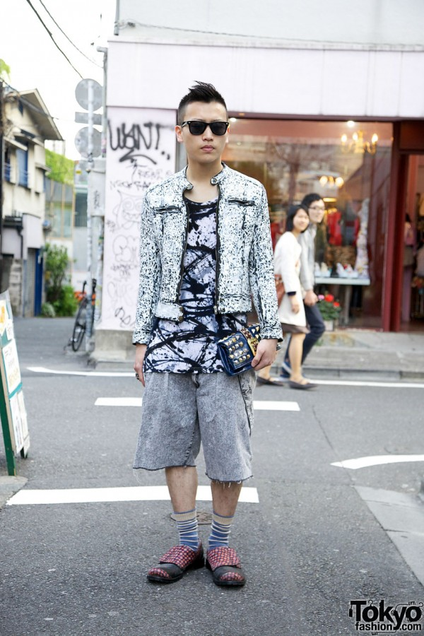 Harajuku Guy in Hand Painted Leather Motorcycle Jacket