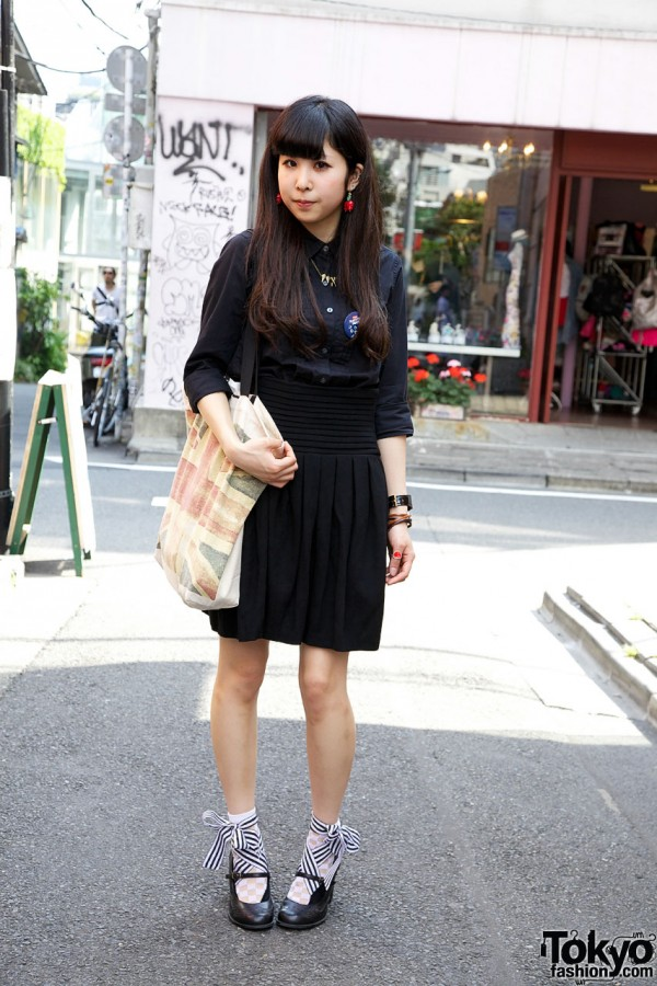 Japanese Girl w/ Skull-Cherry Earrings & Ribbon-Bow Mary Janes