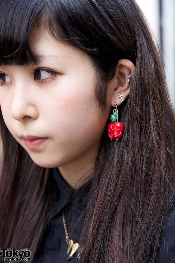 Skull Cherry Earrings from Nadia