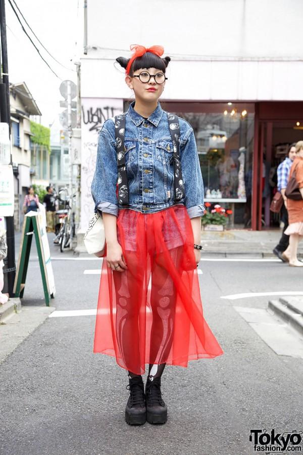 Harajuku High School Girl in Sheer Skirt, Nadia Platform Converse & Double Bun Hairstyle