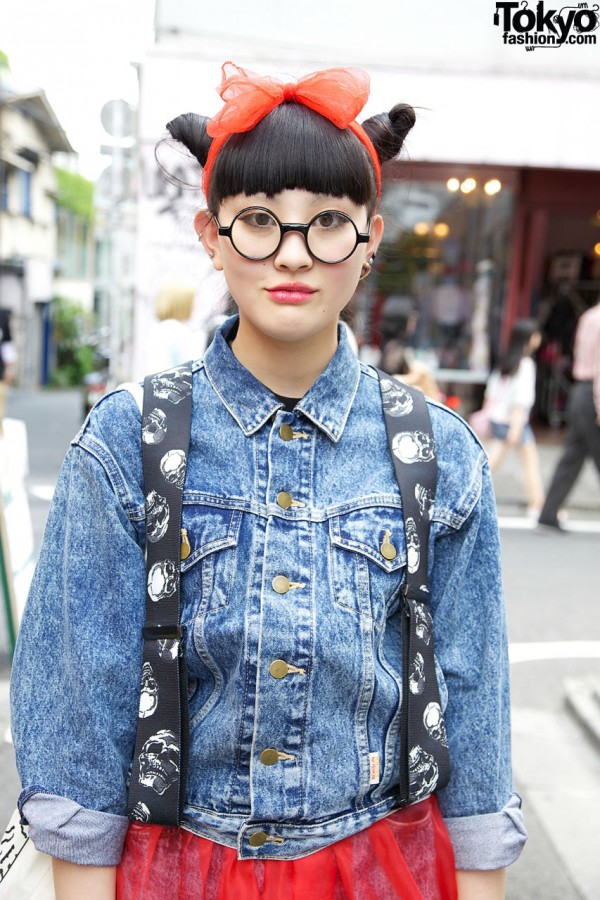 Denim Jacket & Round Glasses