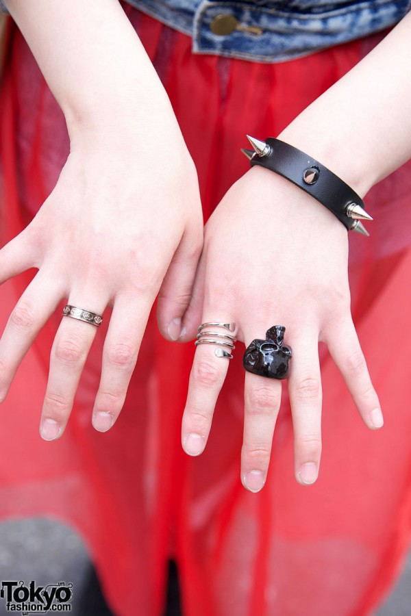 Rings & Spiked Bracelet in Harajuku