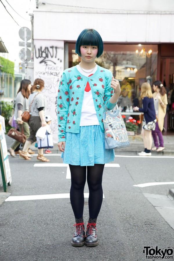 Harajuku Girl w/ Short Blue Bob, ANAP Cardigan & Boots