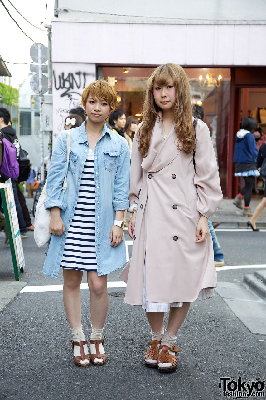 Girls in double-breasted trench & nautical striped dress