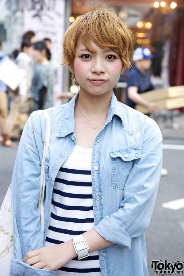 Striped dress & denim coat