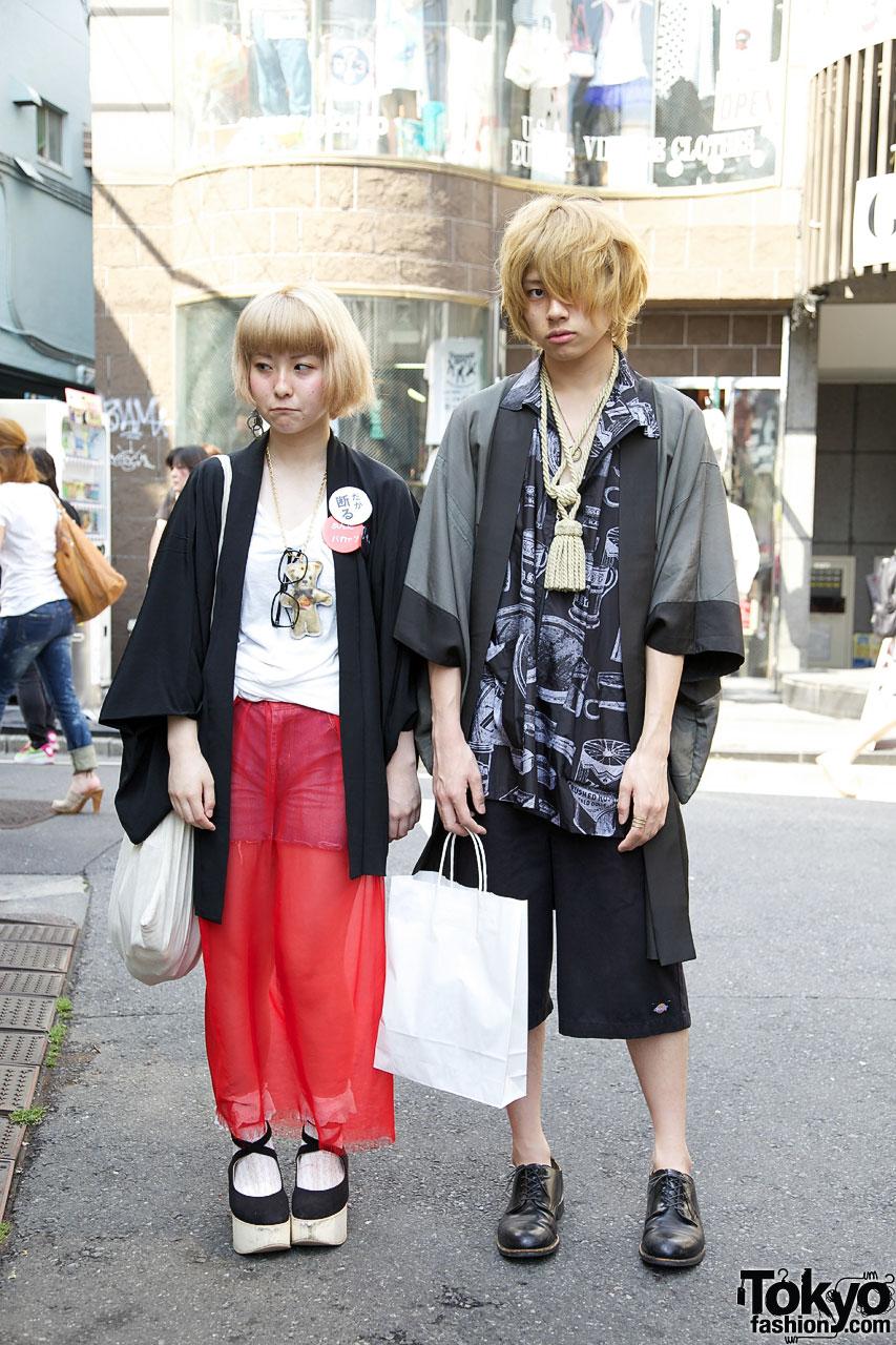 Blonde Japanese Couple in Happi Coats in Harajuku