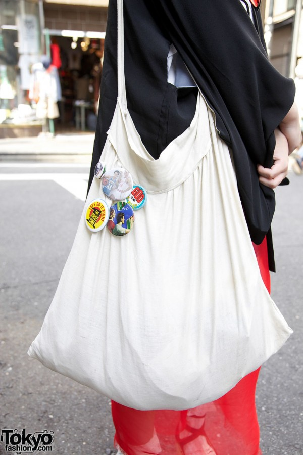 Handmade tote with buttons