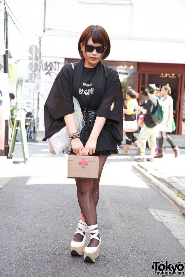 Mini Skirt, Leather Corset & Happi Coat