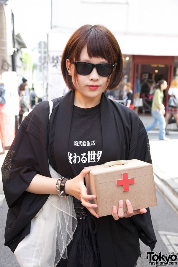 Japanese t-shirt & box with red cross in Harajuku