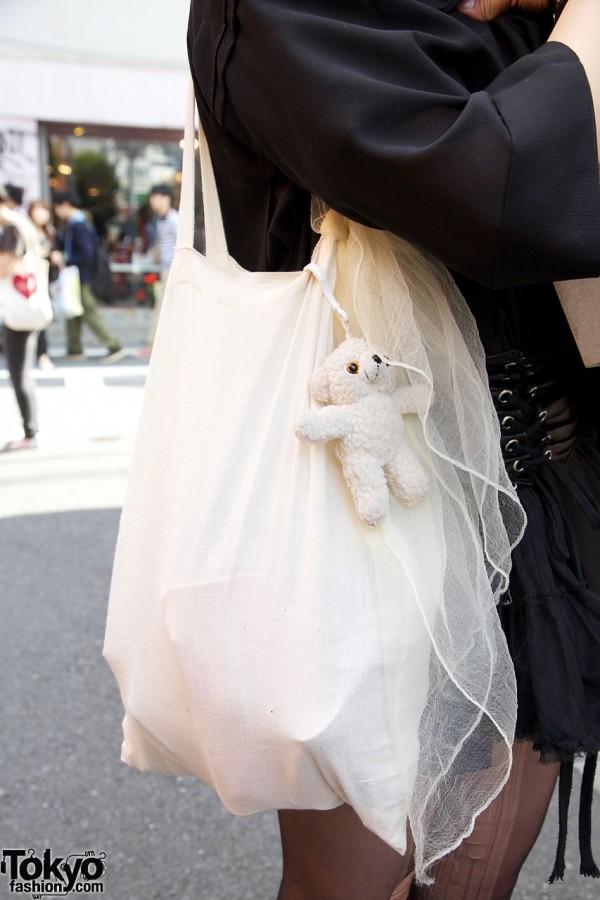 Fabric tote bag w/ scarf & teddy bear