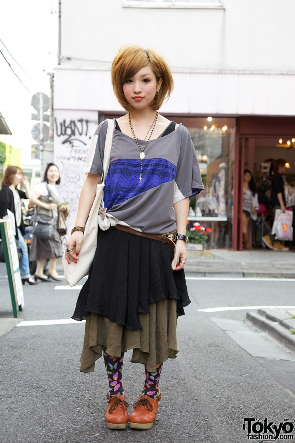 Pieced Cantwo Top & Layered Medium Culture Skirt