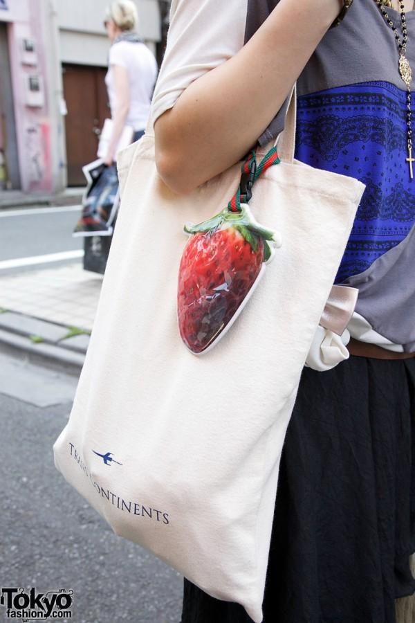 Trans Continents bag w/ large plastic strawberry