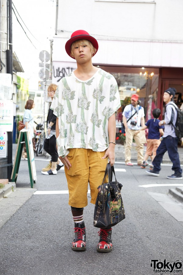 Flower Shirt & Union Jack Dr. Martens in Harajuku