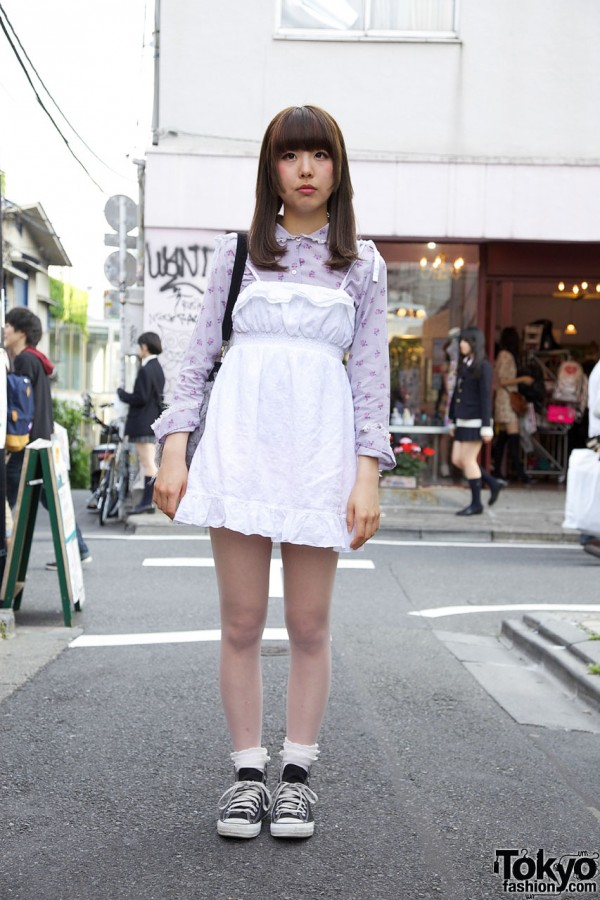 Harajuku Resale Style w/ Furry Purse & Converse Sneakers