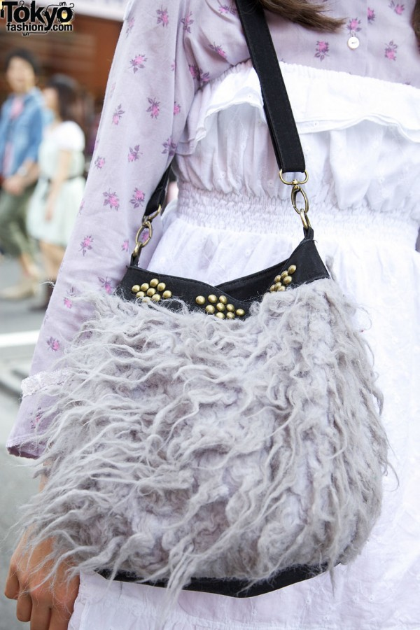 Furry Studded Purse in Harajuku