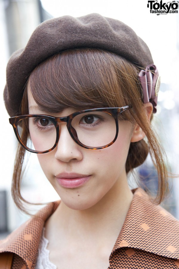 Japanese girl with large glasses & beret