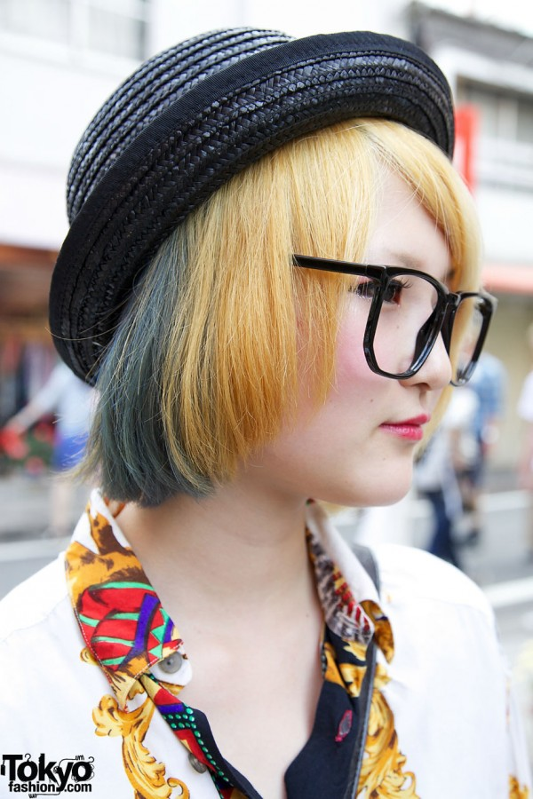 Green-streaked Blonde Hair