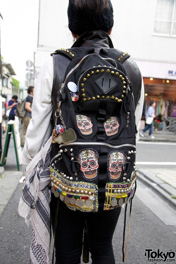 Libremente Skull-patch Backpack in Harajuku