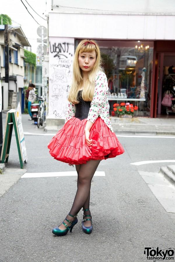 MEtA Designer in Corset Top & Vintage Pannier in Harajuku