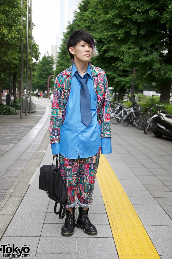 Cool Japanese Guy's Patchwork Suit, Docs & Purple-Green Hair