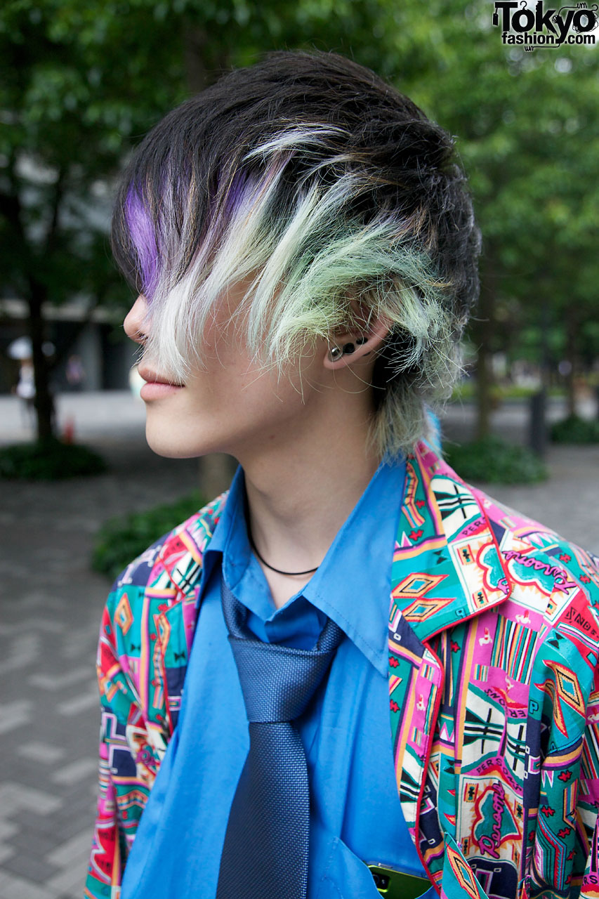 cool japanese guys patchwork suit docs amp purplegreen hair