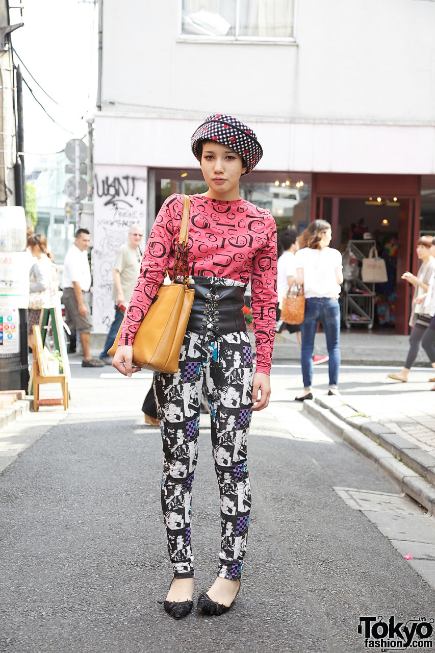 Dog harajuku ayaka w vintage top corset belt high waisted pants Japanese fashion style icon