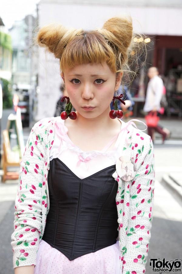 H&M cherry cardigan & satin corset