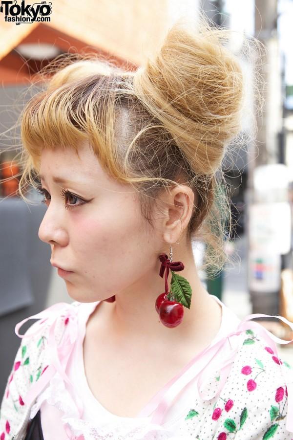 Blonde buns & handmade cherry earrings