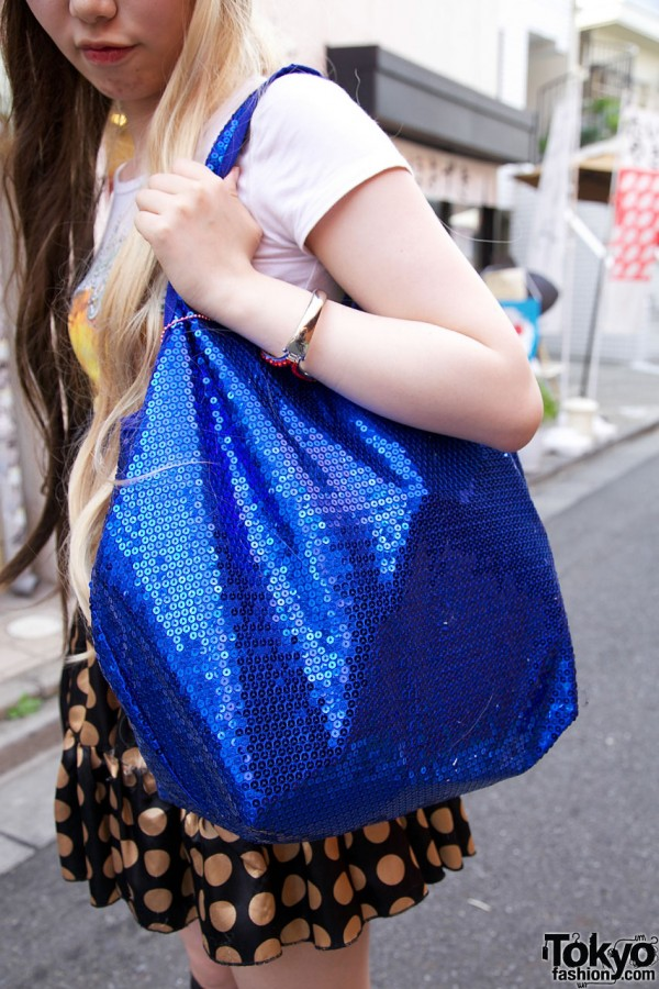 Comme Ca blue sequined bag