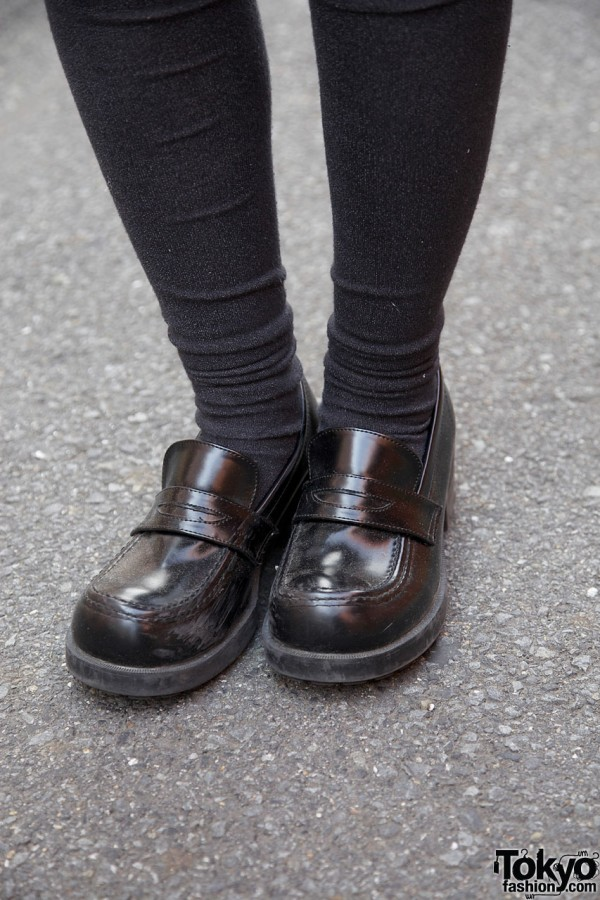 Black knee socks & loafers