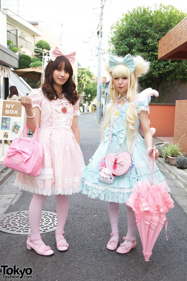 Japanese Sweet Lolita Girls' Pink & Blue Fashion in Harajuku